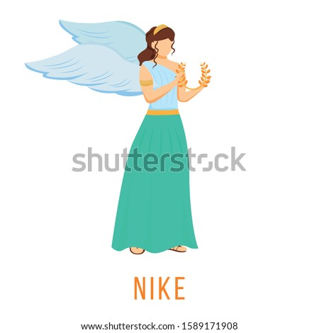 Nike flat vector illustration. Goddess of speed, strength and victory. Ancient Greek deity. Divine mythological figure. Isolated cartoon character on white background