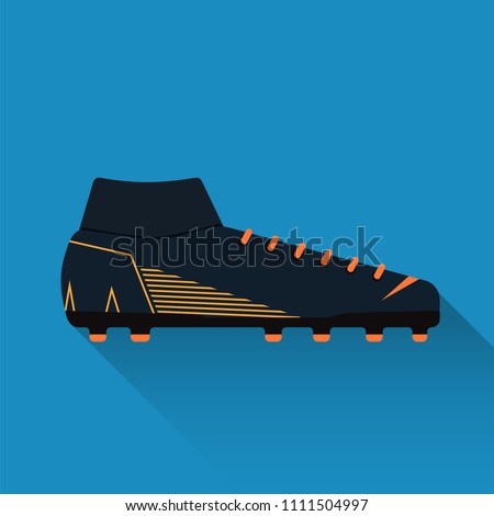 Nike Football boot. Soccer shoe. Flat design. Vector illustration.