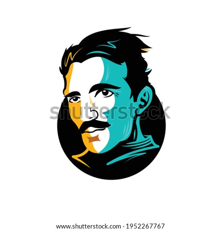 Nikola Tesla Vector Caricature One of the most famous Serbian and world famous inventors and scientists in the fields of physics, electrical engineering and radio engineering.