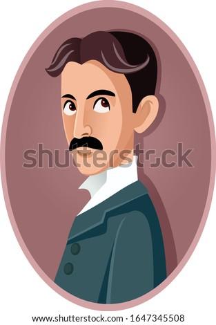 Nikola Tesla Vector Caricature Portrait. Famous genius inventor and engineer
