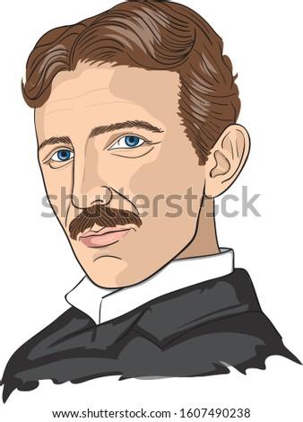 Nikola Tesla vector illustration portrait