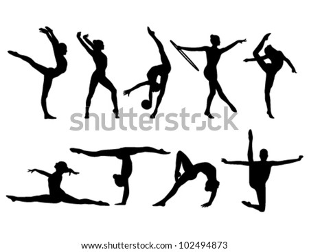 stock-vector-nine-black-figures-of-gymnasts-on-a-white-background