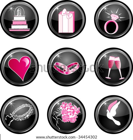 stock vector Nine black glossy wedding web icons with hot pink