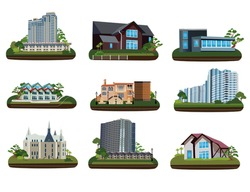 Nine buildings on transparent background