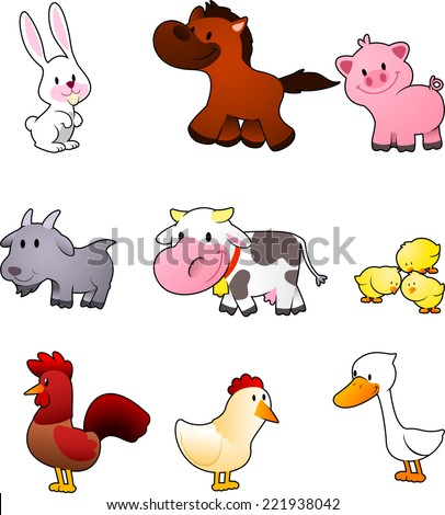 Cute i Like You Cartoons Nine Cartoon Farm Animals Like