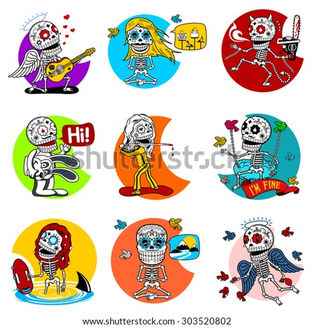 nine characters skeletons in