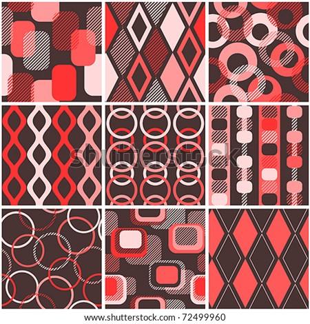 Nine color seamless retro wallpapers
