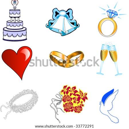 Nine colorful wedding web icons.