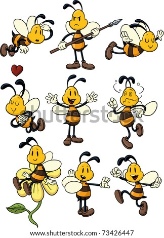Nine cute cartoon honeybees. All in separate layers for easy editing.