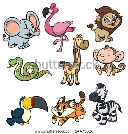 Nine cute wild animals. All in different layers for easy editing.