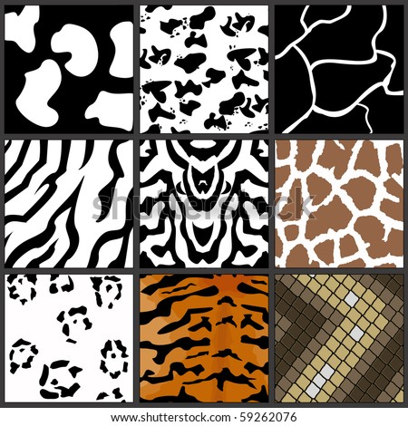 Nine different animal textures cows,zebras,girafe,tiger,snow leopard