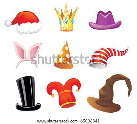 nine different funny caps for party, holidays and masquerade