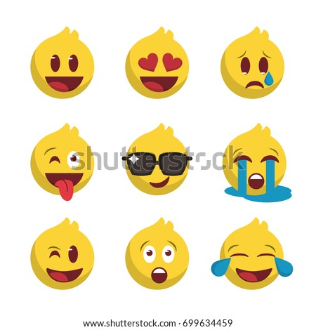 nine emojis set  icon for