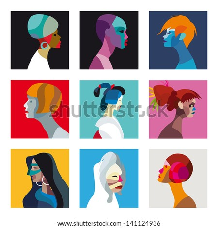 Nine faces of women and girls of different ethnicities. Great to use for avatars or profile/user images with a distinctive look.