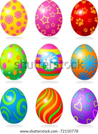 Nine fine painted eggs designed for Easter
