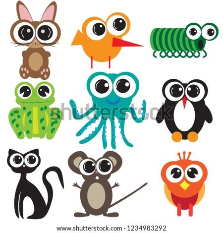 Nine flat design animals, cartoons with big eyes design