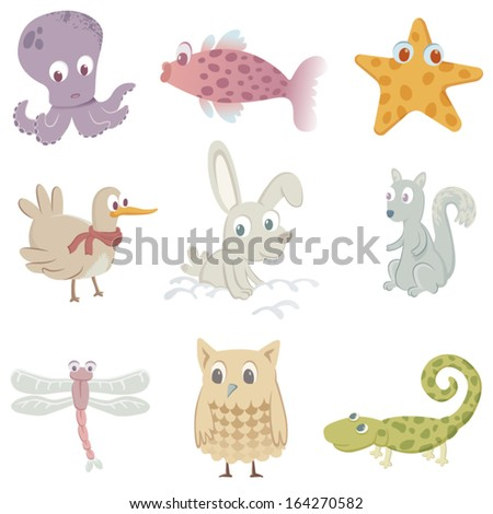 Nine funny animals: an octopus, a fish, a starfish, a bird, a rabbit, a squirrel, a dragonfly, an owl and a lizard.