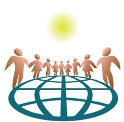 Nine globally connected symbol people, on white. The globe and each person are on separate layers, for easy customization.