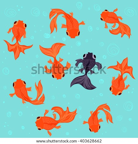 nine goldfish swimming in a
