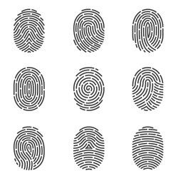 Nine grey fingerprint types detailed vector set