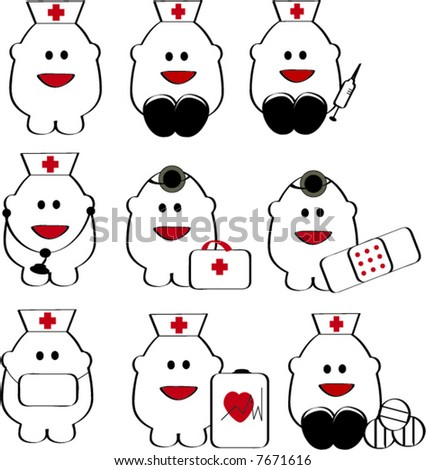 nine happy toon carachter vector illustration medical doctor and nurses