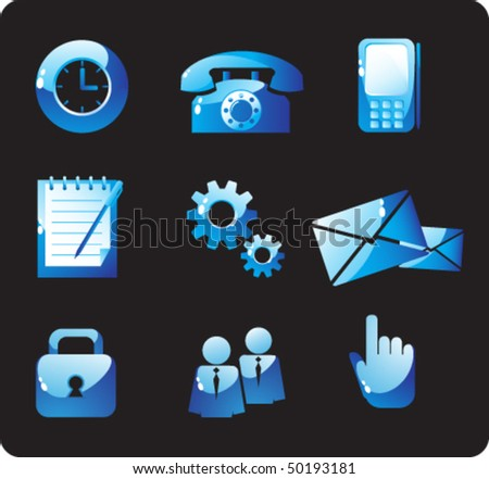Nine of the control buttons of blue glass - stock vector