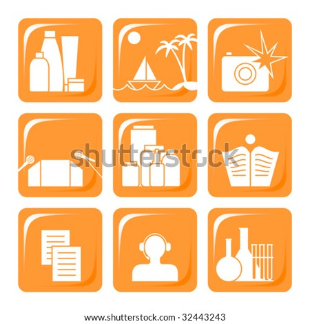 Nine orange icons for manufacturers of cosmetic production