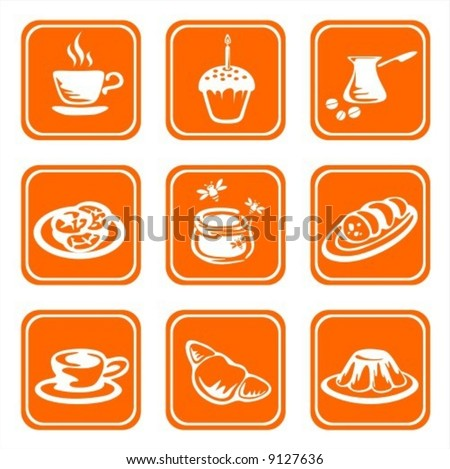 Nine ornate food symbols on a green background.