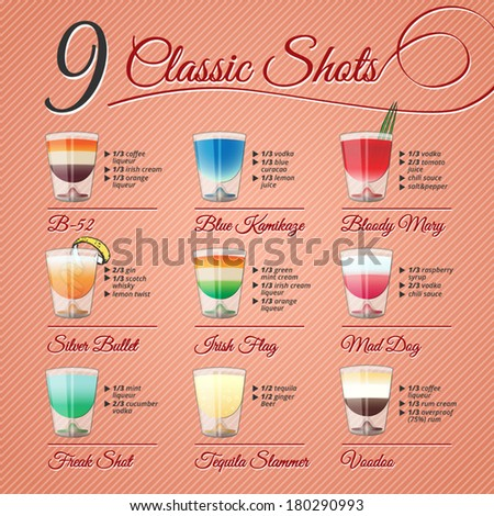 nine popular alcohol shots
