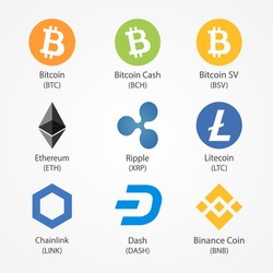 Nine popular cryptocurrency vector icons. Cryptocurrency symbols isolated on white background.