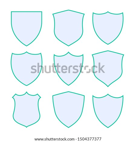 nine protection shield icons with green border #1504377377