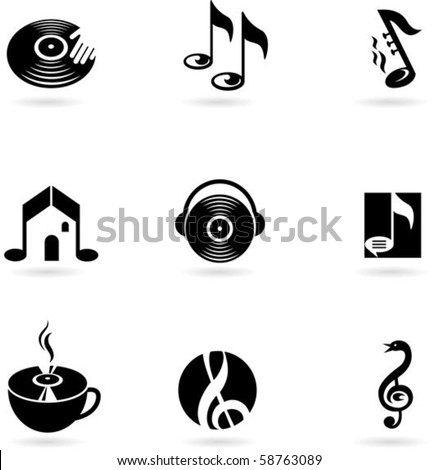 Nine simple music icons
