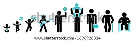 Nine stages of human life. Icon set of lifespan, infancy, toddler, childhood, early school age, adolescence, early adulthood, middle age, older age. Stock photo ©