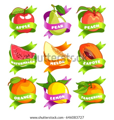 Nine stickers with ribbon and different fruits. Apple, pear, peach, watermelon, melon, zapote, orange, lemon, and tangerine. Vector illustration isolated on a white background.