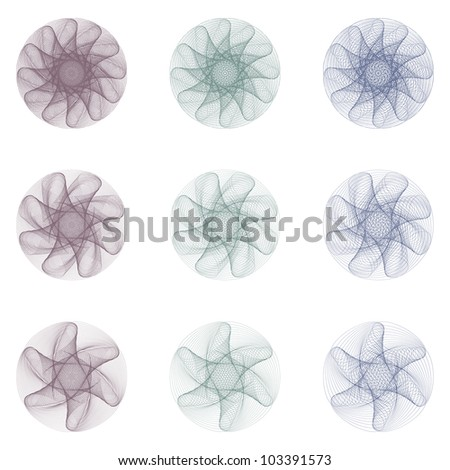 Nine Vector Guilloche Rosettes