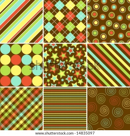 nine vector patterns in fall colors