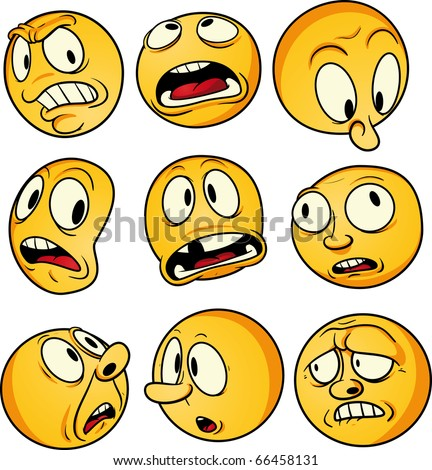 Nine yellow emoticons with worried and scared faces. Vector illustration with simple gradients. All elements on separate layers for easy editing.