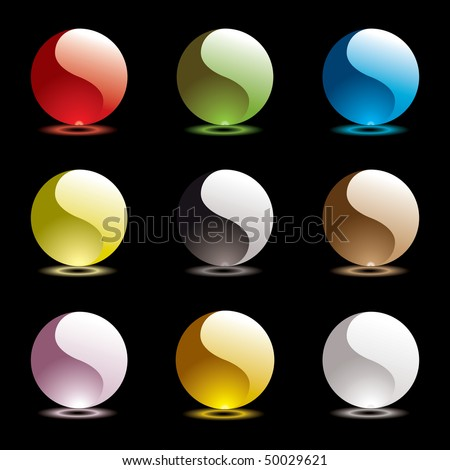 nine ying yang web round icons with outer glow in bright colors