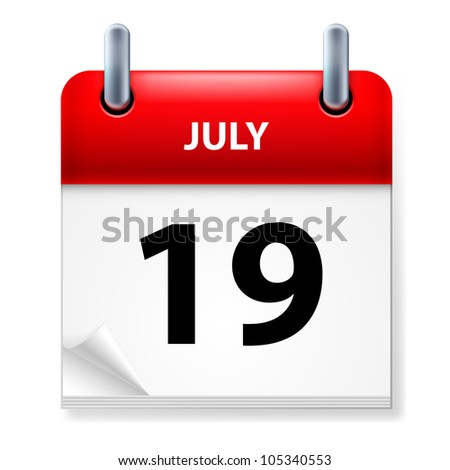 Nineteenth July in Calendar icon on white background