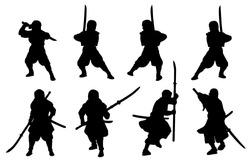 Ninja and samurai-naginata silhouette set