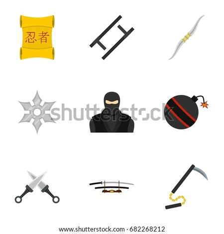 ninja arsenal icons set flat