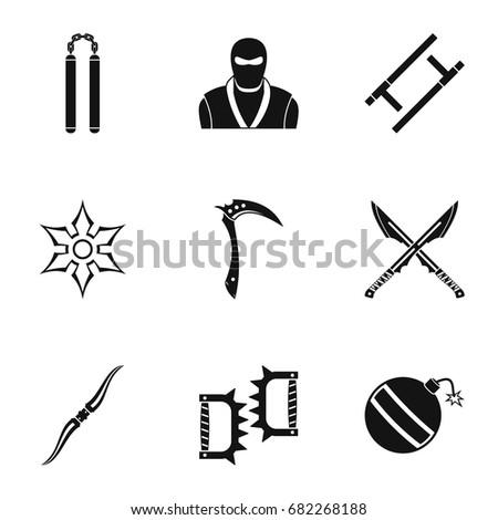 ninja arsenal icons set simple