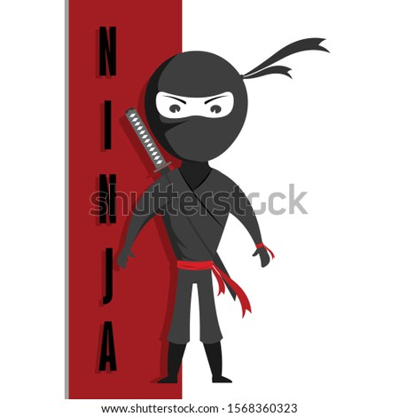 Ninja cartoon Character vector illustration, Graphic Design, with a Sword, For posters, Animation, Info graphics, Motion graphics.