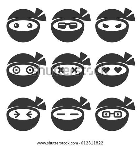 ninja face icons set on white