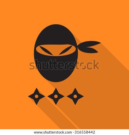 ninja icon with long shadow