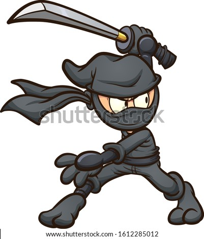 Ninja in black garb striking a pose with katana cartoon. Vector clip art illustration with simple gradients. All in a single layer.