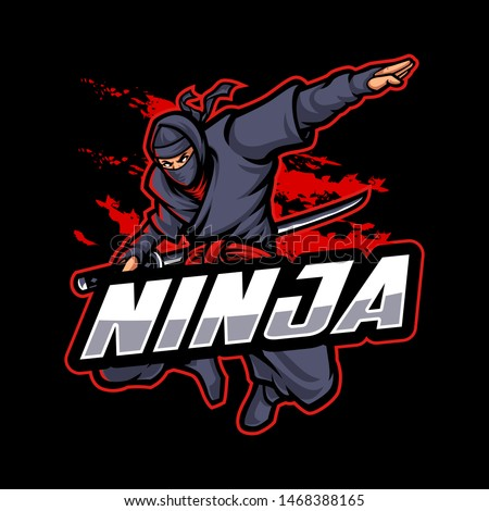 Ninja Logo Mascot Character in dark background