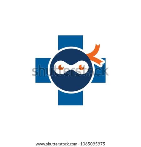 ninja medical logo icon design