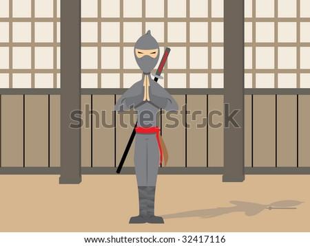 Ninja Posing - stock vector