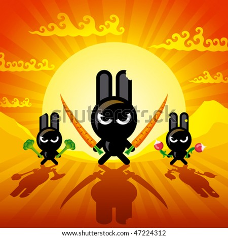 Ninja Rabbits. Vector